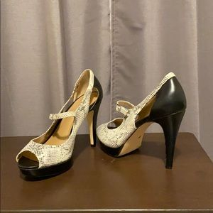 Snakeskin, peep toe heels
